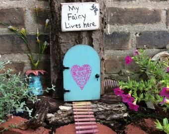 Fairy Door, Fairy Garden, Blue, Birthday, Miniature Garden, Hearts, Outdoor, Wall, Tree, Housewarming, Gifts for her, Fairy House, Fairies