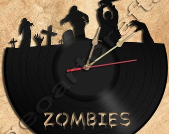Wall Clock Zombie Vinyl Record Clock Upcycled Gift Idea