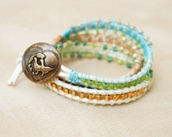 pearlized leathertriple wrap bracelet soft pastel colors macrame beaded
