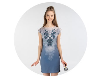 Fog bloom orchid -  multicolor jersey tunic dress
