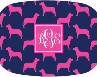 Personalized Melamine Platter Monogrammed Serving Tray Labrador Dinnerware Dog Lover Platter Choose Colors