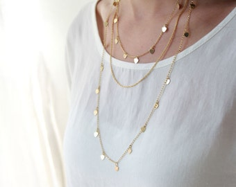 Multi chain heart necklace / gold layered necklace / Valentines day gift / layering jewelry / birthday gift
