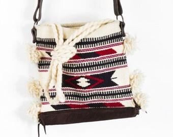 SALE Boho Kilim Bag with Leather Strap,Southwestern bag,Festival bag,Southwestern Print Bag,Tribal print bag,Aztec bag,Cross Body Bag