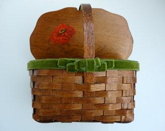 Vintage Basket Purse Wedding card basket 1970s Floral Decoupage Fabric Lined Velvet bow
