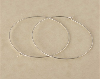"Hoop Earrings - 1-1/2"" (40mm) Silver Hoop Earrings, Sterling Silver Hoop Earrings, Thin Hoop Earrings, Silver Hoop Earrings,"