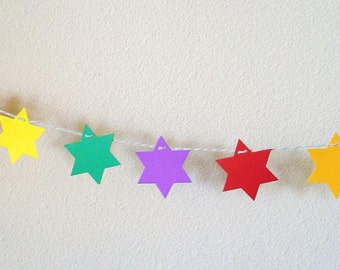 Multicolor stars Birthday party garland,  Party decoration, Colorful paper stars, hand made garland by Wcards