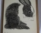 Vintage Original Pen and Ink Bunny (Signed)