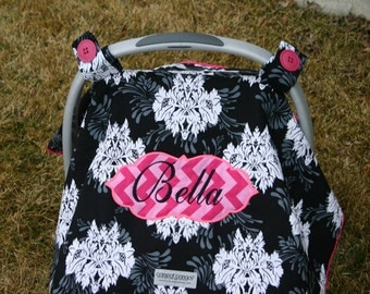 Ariu0027s Angels Personalized Baby Girls Carseat Canopy or cover Embroidered Appliqued Monogrammed & Angels carseat cover | Etsy