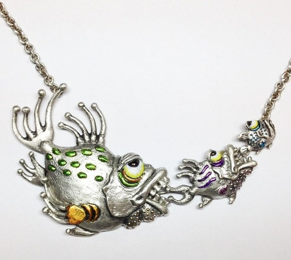 """Whimsical Silver Fish Necklace """"Survival Of The Fittest"""" On Sterling Silver Chain"""
