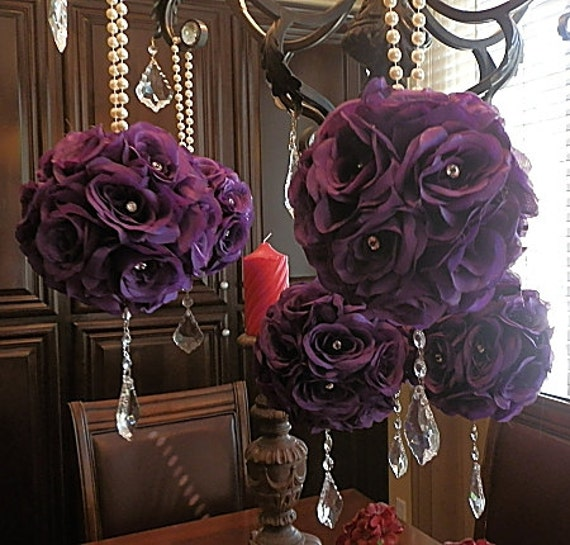7 Inches White Flower Ball: 7 Inch PURPLE POMANDERS, Purple
