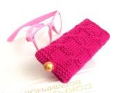 Fuchsia Glasses Case. Hot Pink  Reading Glasses Case. Knitted Sunglasses Holder. Knit Eyeglasses Case.