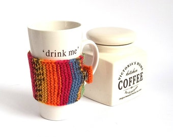SALE - 50%OFF. Multicolor Knit Coffee Cozy. Knitted Cup Cozy. Knit Tea Cup Cosy. Knitted Mug Cozy.