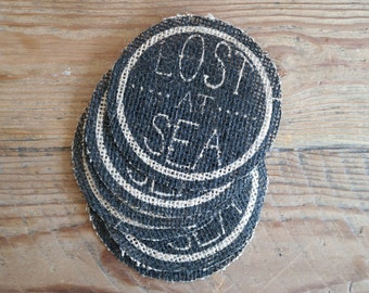 Lost At Sea Burlap Coaster Set