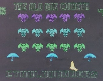 Embroidered Tee Shirt Cthulhu Space Invaders, Steampunk, Lovecraft,Retro Gaming