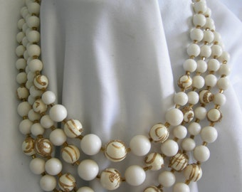 4 Strand White and Gold Graduated Beaded Necklace - Unsigned - Vintage