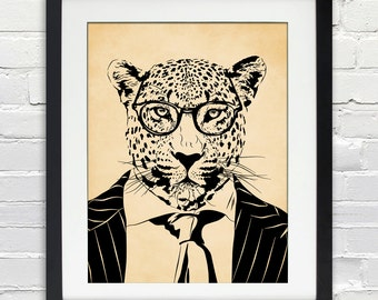 Cool Cat - Leopard in a Suit and Glasses - Ink Sketch Poster