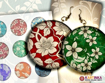 FLORAL PATTERNS 2 inch Digital Collage Sheet Printable Decoupage Circles for Pendant Pocket Mirrors, Earrings, Paper Weight