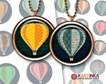 Printable digital download HOT AIR BALLOONS 1 inch & 1.5 inch images for Round pendants Bezel trays Glass cabochons Crafts Bottle caps