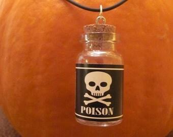 Mini Poison Bottle Pendant with cork stopper  black cord Necklace, Halloween