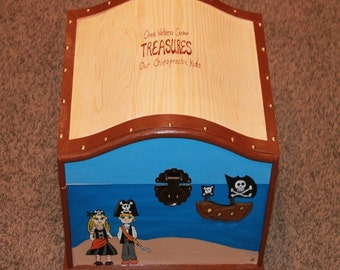 Chiropractor, Doctor, Dentis Office Pirate Themed Treasure Trunk Kids Treasure Chest, Toy Box, Gift Box