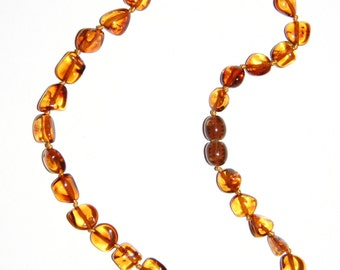 Baltic Amber teething necklace, cognac color leaves beads 18v