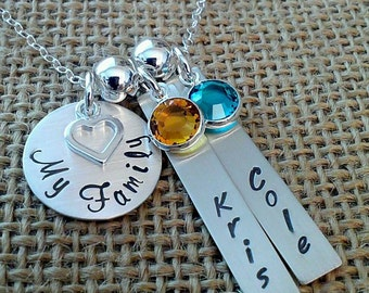 Personalized My Family Necklace, Mom Necklace, My Girls Necklace, My Boys Necklace, Personalized Kids Names Necklace