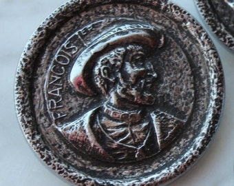 "Vintage set 3 large metal buttons w/ Francois 1st profile.medieval. from Siena , Italy 1961 - MOD. DEP. 1 5/8"" buttons 1960's sewing notions"