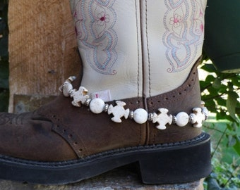 Chunky western white magnesite cross boot jewelry