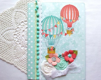 Shabby Chic journal, notebook, smash book, in aqua,with hot air balloons