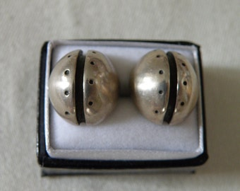 Abstract Artisan 10K White Gold Earrings with 14K Gold Posts