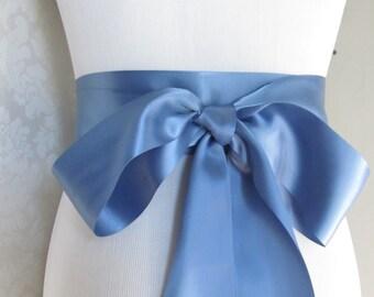 Smoke Blue Satin Ribbon Sash / Ribbon Sash / Satin Bridal Sash /  Bridesmaid Sash / Smoke Blue
