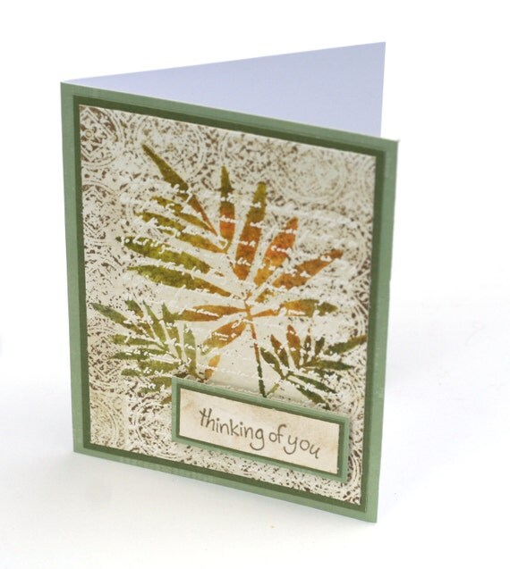 Fern Leaves note card, Fall colors, Thinking of you Embossed Stamped Botanical Blank Card, Sage green