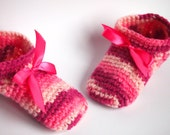 SALE - Non Slip Girl Crochet Slippers, Slippers, Warm Gift, READY to SHIP