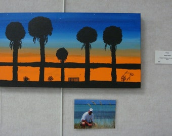 Miami Dawn 5 Palm Silhouettes Original Painting on Gallery Wrap Canvas - Last 3 days at this SALE price