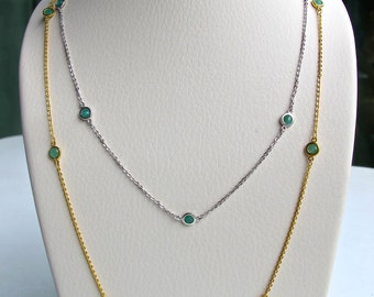 Layering Emerald Necklace- Silver Emerald Chain Necklace- Green Strand Necklace- Necklace by the Yard- May Birthstone Classic Necklace
