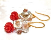 Carved Coral Earrings Rose Earrings Flower Earrings Coral Flower Jewelry Pearl Earrings Mothers Gift Coral Jewelry