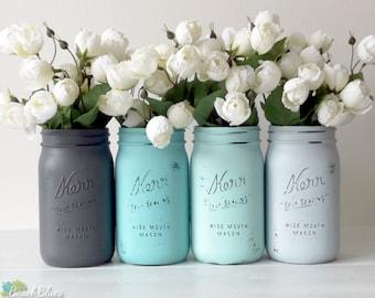 Turquoise Wedding Centerpiece Vase Mason Jar Decor Reception Table Aqua Grey Turquoise