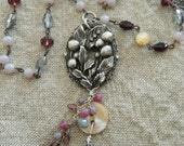 Vintage Assemblage Necklace Leaves and Berries