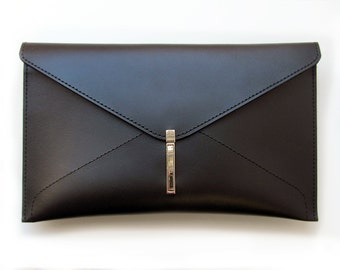 Leather envelope clutch bag, Handmade black clutch for women