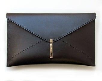 Leather envelope clutch bag, Handmade black clutch for women