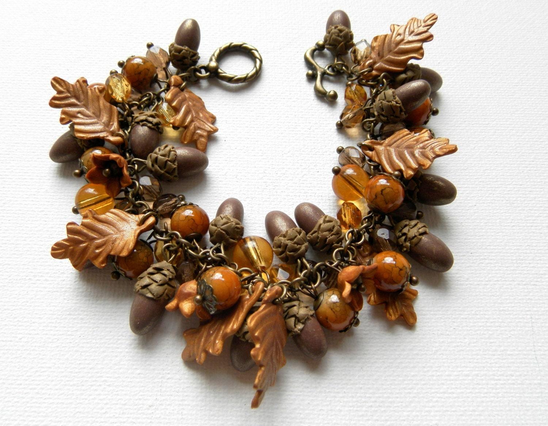Acorn jewelry Fall leaves Handmade fall bracelet Leaf