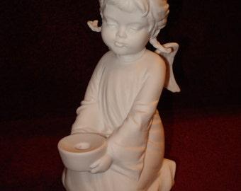Kaiser White Bisque Angel Candleholder