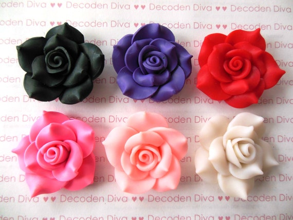 Set of 6 Large Clay Flowers