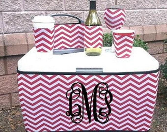 Neoprene Cooler Wrap Sleeve Monogrammed Wedding, Summer, Beach, Pool Gift