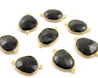 Natural Black Onyx, Bezel Gemstone Component, 24K Gold Vermeil Over Sterling Silver,  15x18-17x18 mm 1 Piece, (BZCT7404)