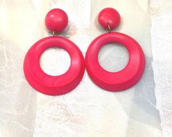 Vintage Red Wooden Earrings Big Circle Danglers