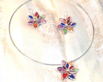 Stained Glass Necklace & Earrings Multicolor Rainbow With Crystals Handmade Choker Set by NorthCoastCottage Jewelry Design