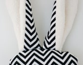Lavender Soother with Soft Mink Bunny Ears - Black and White Chevron