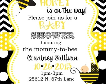 12 Bumble Bee Baby Shower invitations