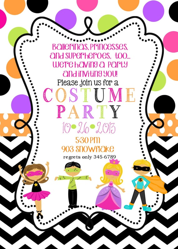 Costume Birthday Party invitations printable or digital file